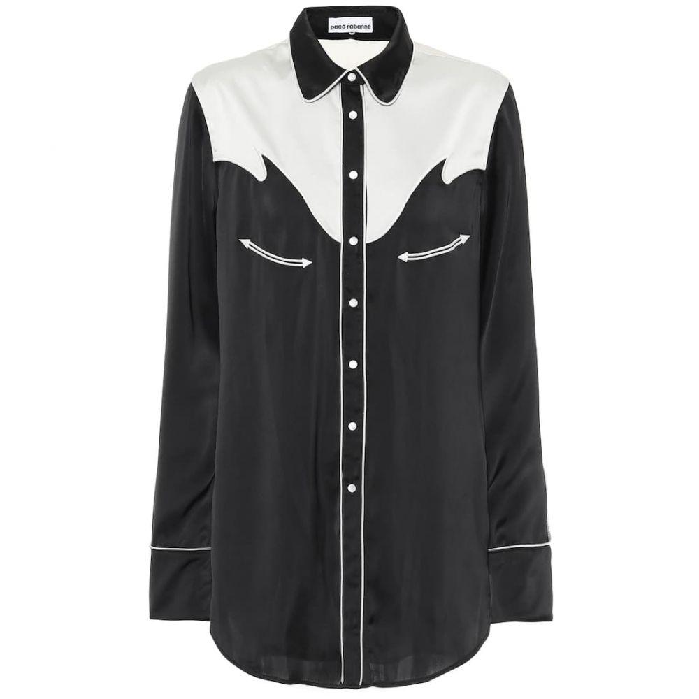 パコラバンヌ Paco Rabanne レディース ブラウス・シャツ トップス【Satin shirt】Black