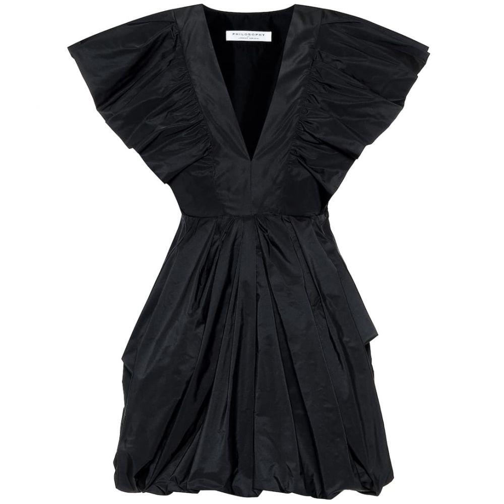 フィロソフィ ディ ロレンツォ セラフィニ Philosophy Di Lorenzo Serafini レディース パーティードレス ミニ丈 ワンピース・ドレス【Poplin mini dress】Black