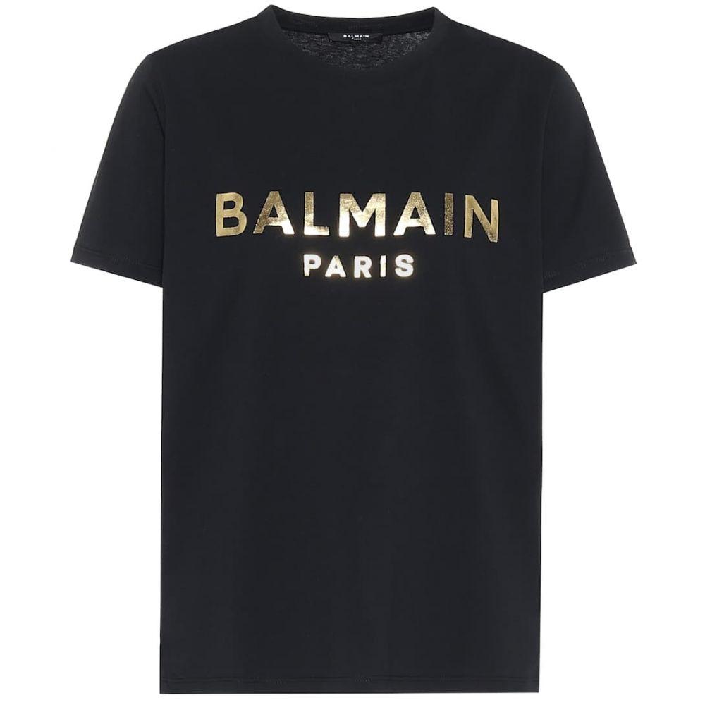 バルマン Balmain レディース Tシャツ トップス【Logo cotton-jersey T-shirt】Noir/Or