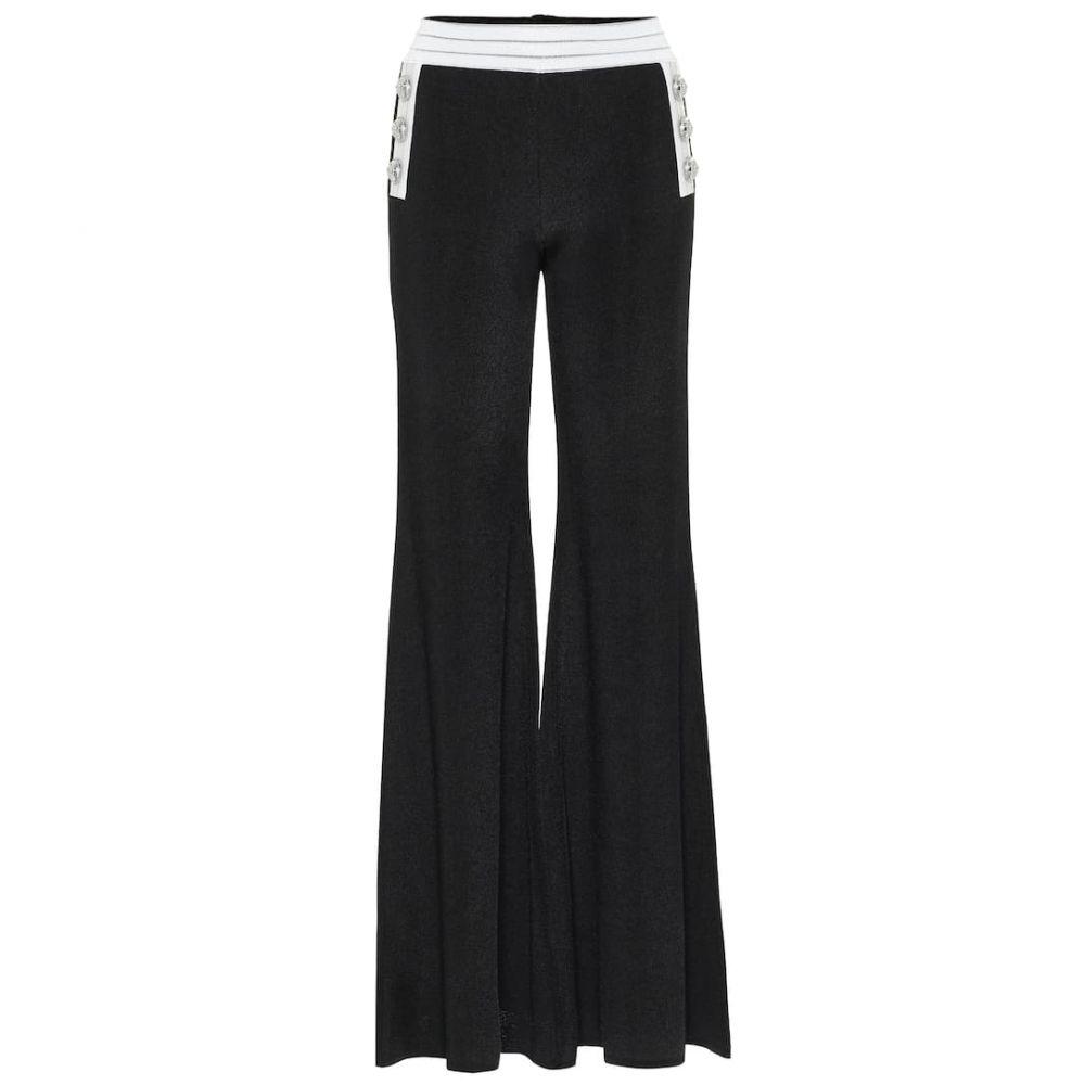 バルマン Balmain レディース ボトムス・パンツ 【High-rise flared knit pants】Noir/Blanc