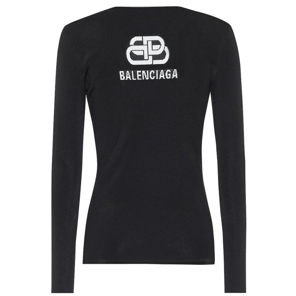 バレンシアガ Balenciaga レディース ニット・セーター トップス【Logo intarsia sweater】Black/White