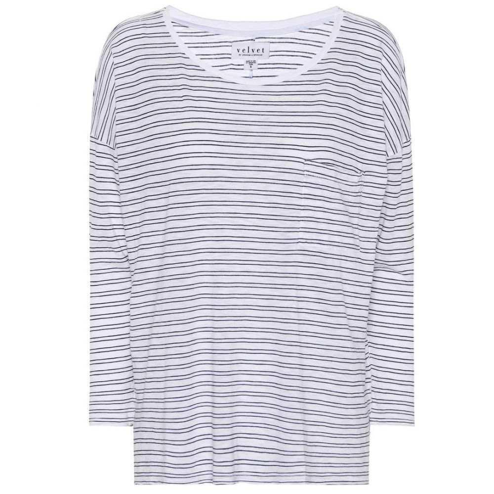 ベルベット グラハム&スペンサー Velvet レディース トップス 【Manuka striped cotton-blend top】White