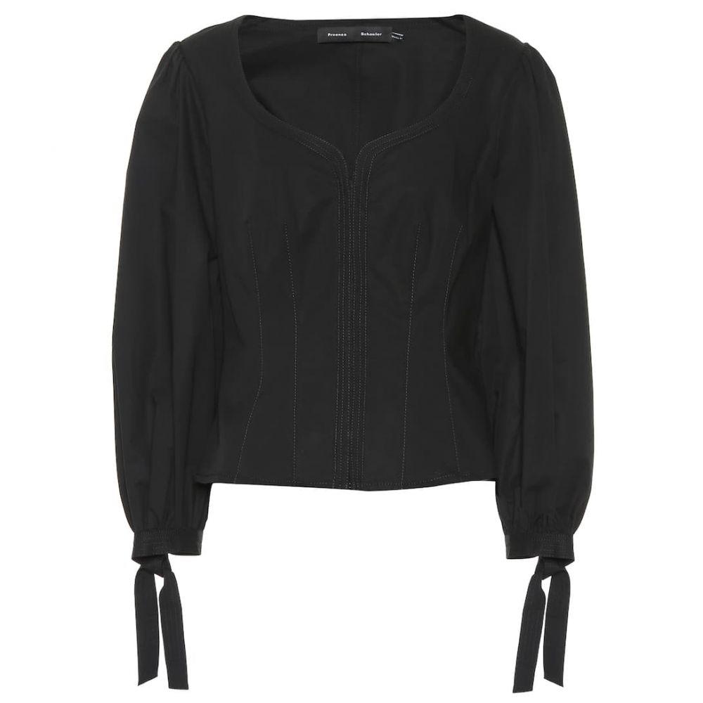 プロエンザ スクーラー Proenza Schouler レディース ブラウス・シャツ トップス【Tie-cuff stretch-cotton blouse】Black