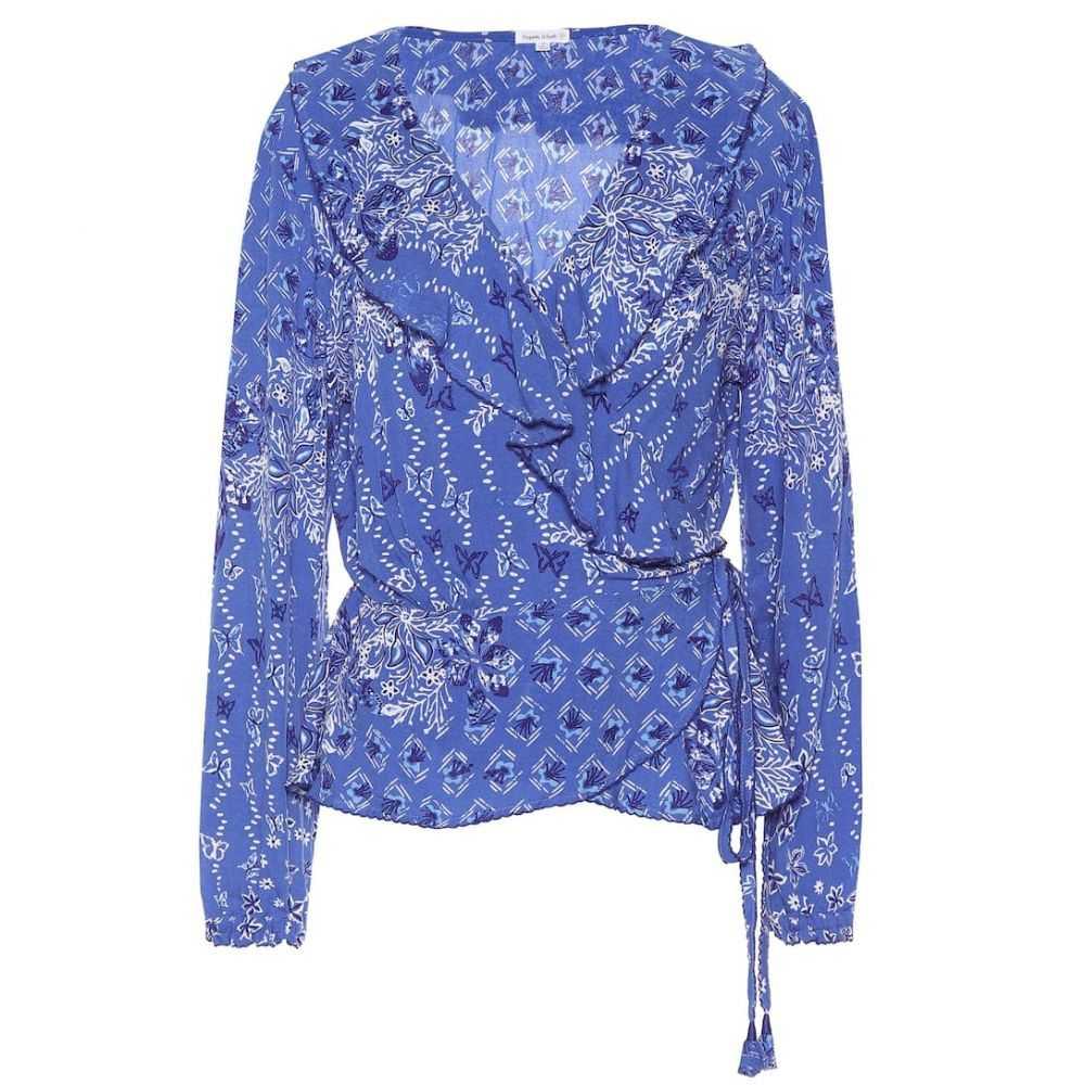 プーペット セント バース Poupette St Barth レディース ビーチウェア ブラウス・シャツ 水着・ビーチウェア【Elise printed wrap blouse】Blue Butterfly Batik Rombo
