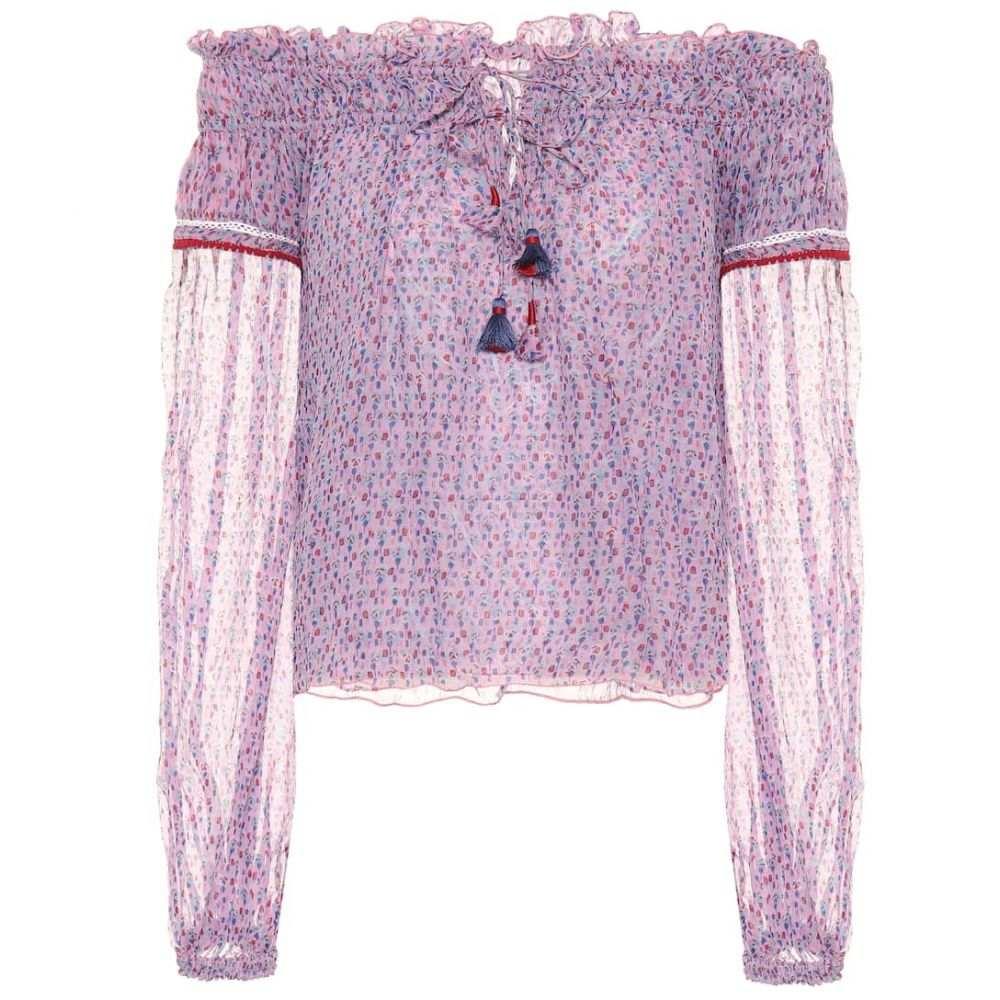 プーペット セント バース Poupette St Barth レディース ビーチウェア トップス 水着・ビーチウェア【Clara printed chiffon top】Pink Small Geo Flower
