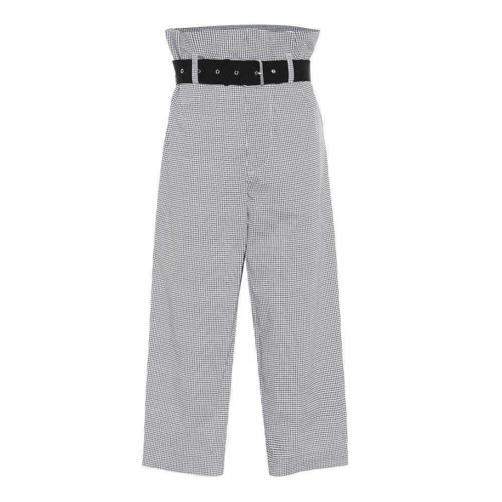 プラン C Plan C レディース ボトムス・パンツ 【Checked high-rise pants】Square Navy
