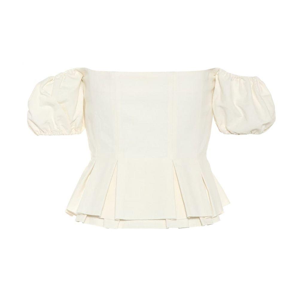 レディース Collection Brock cotton-blend top】Natural トップス【Off-the-shoulder オフショルダー ブロック コレクション