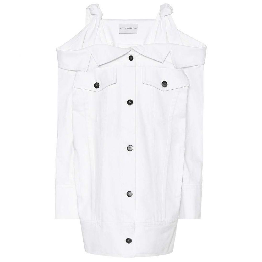 マシュー アダムズ ドーラン Matthew Adams Dolan レディース ワンピース デニム ワンピース・ドレス【Off-the-shoulder denim dress】White