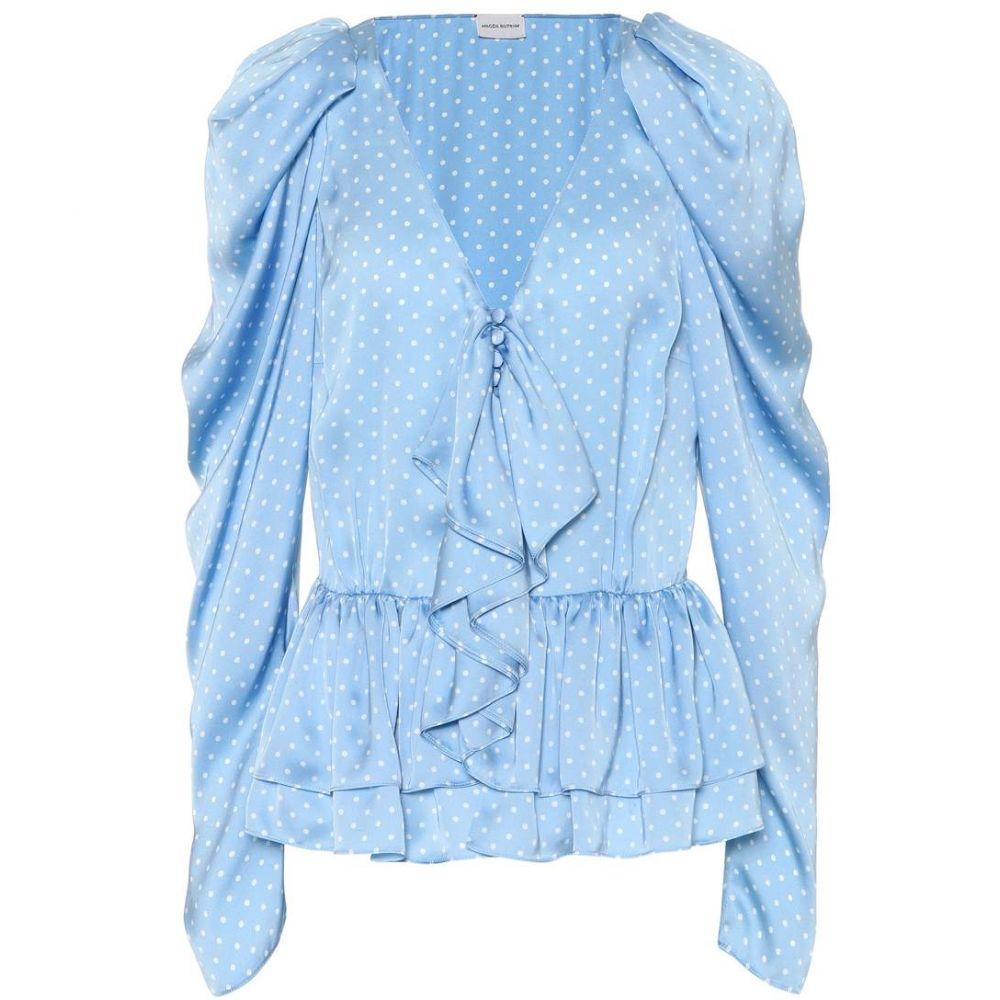 マグダ ブトリム Magda Butrym レディース ブラウス・シャツ トップス【Cefalu polka-dot silk blouse】Blue