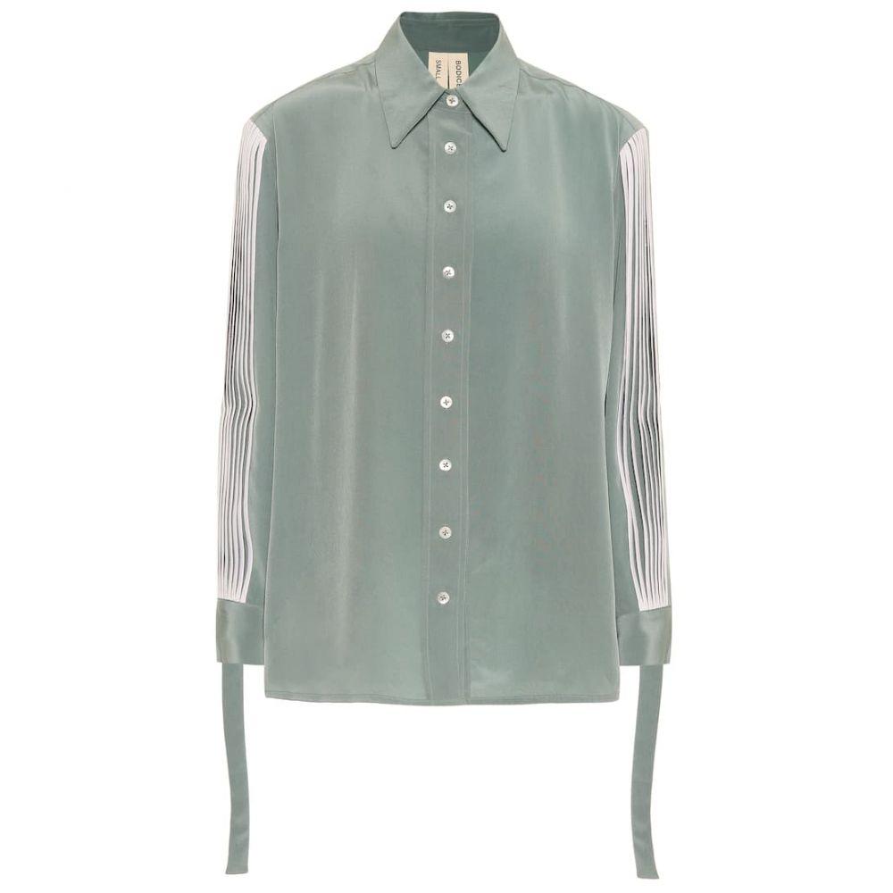 ボディス スタジオ Bodice Studio レディース ブラウス・シャツ トップス【Pleated silk shirt】Sage Green