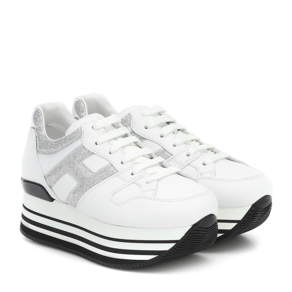 ホーガン Hogan レディース スニーカー シューズ・靴【Maxi H222 leather sneakers】Bianco/Argento