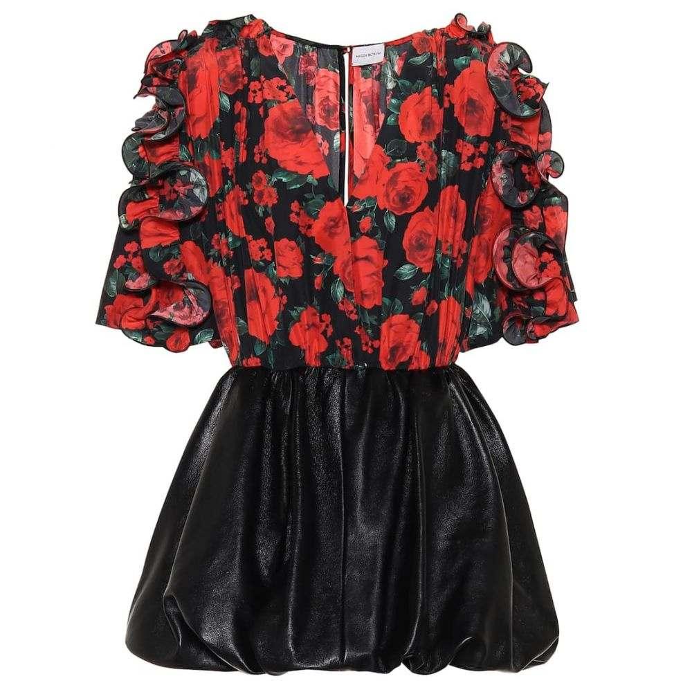 マグダ ブトリム Magda Butrym レディース ワンピース ワンピース・ドレス【Lleida floral silk and leather dress】Black