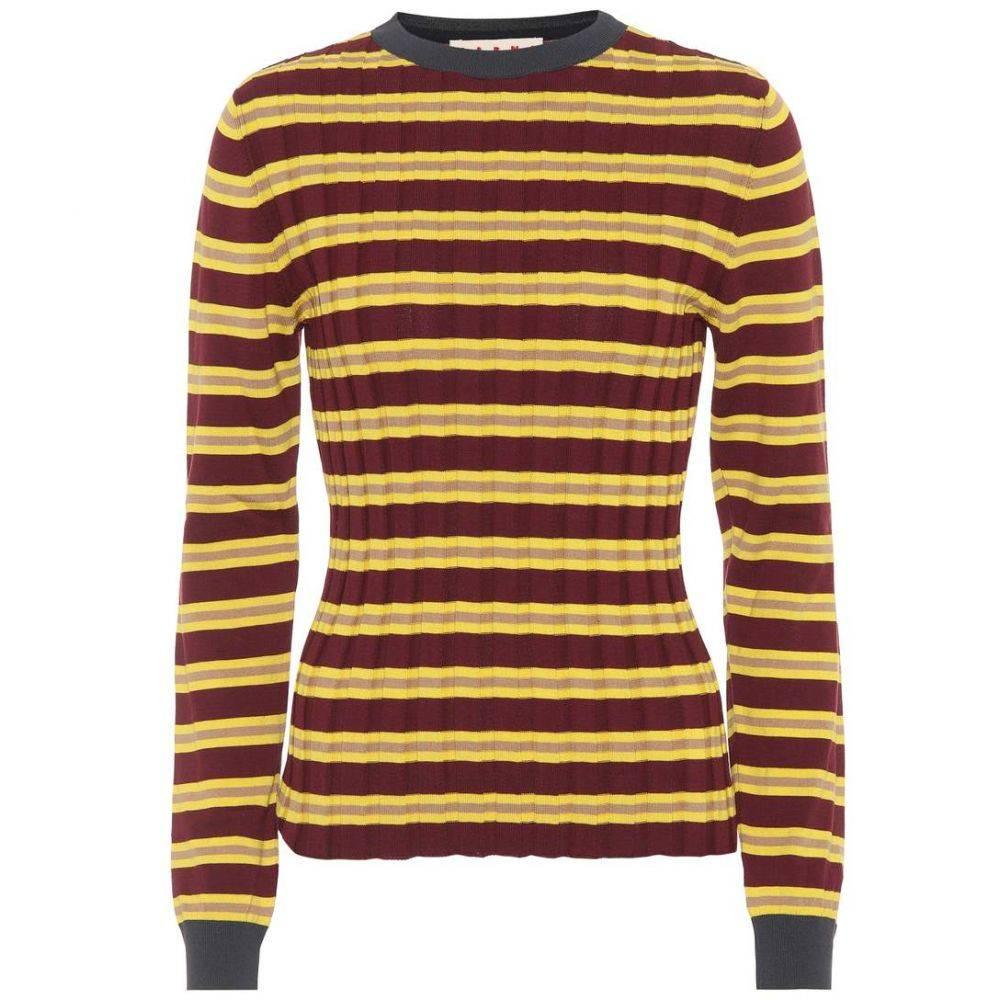 マルニ Marni レディース ニット・セーター トップス【Striped cotton-blend sweater】Eggplant