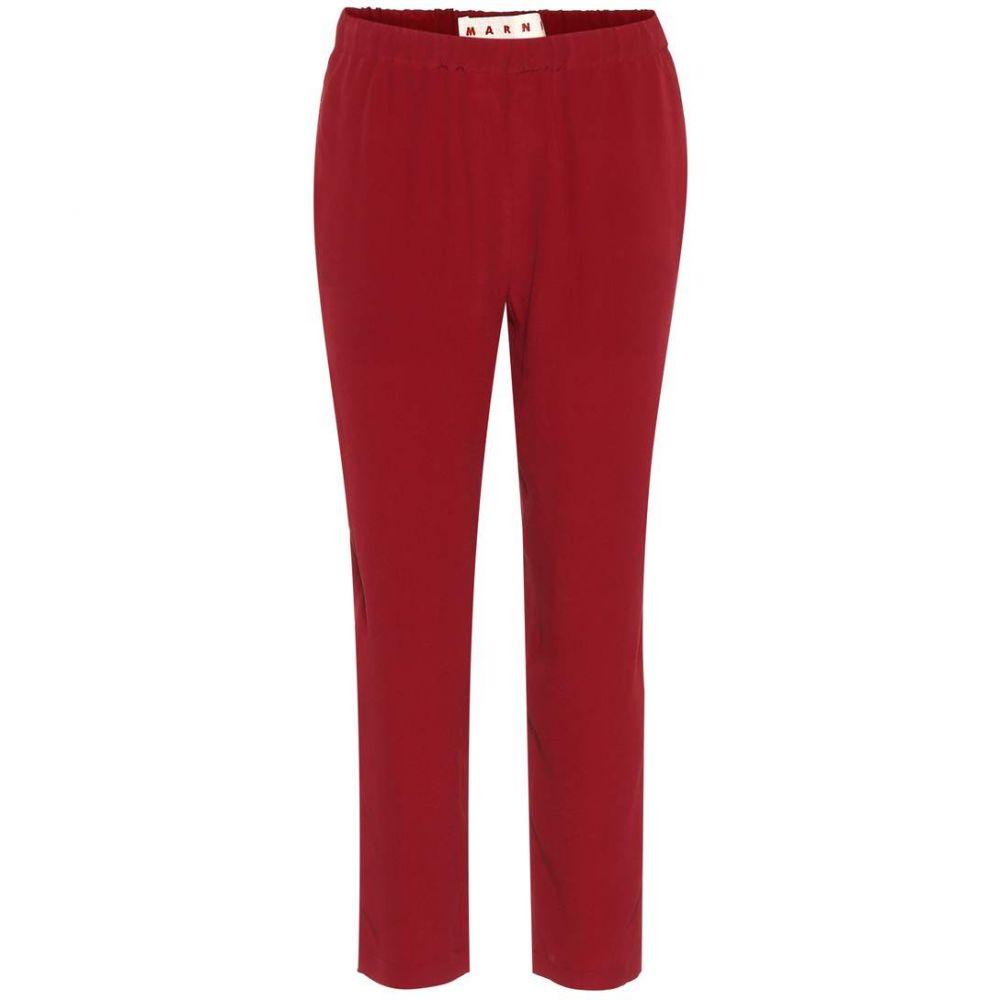 マルニ Marni レディース クロップド ボトムス・パンツ【Silk-blend cropped trousers】Burgundy