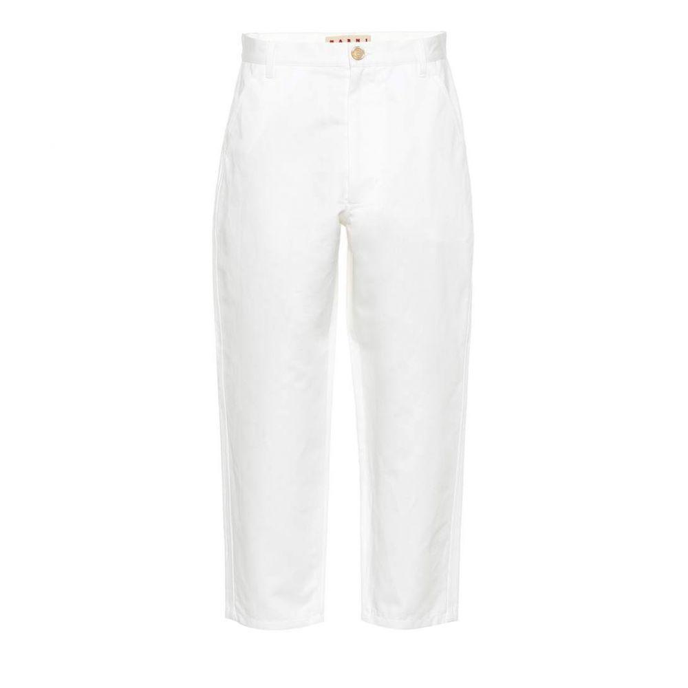 マルニ Marni レディース クロップド ボトムス・パンツ【Cotton and linen cropped pants】Limestone