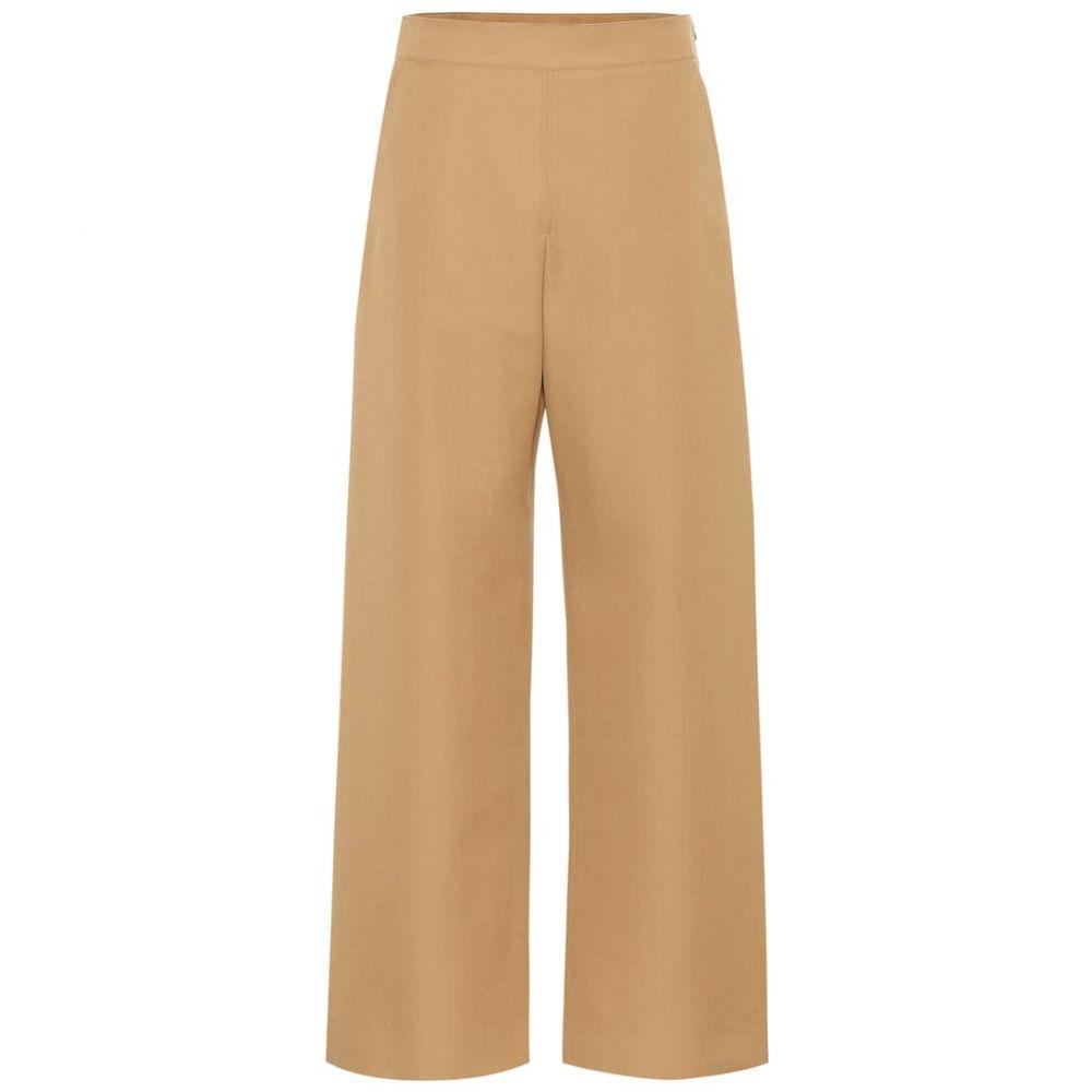 マルニ Marni レディース ボトムス・パンツ 【High-rise wide-leg wool pants】camel