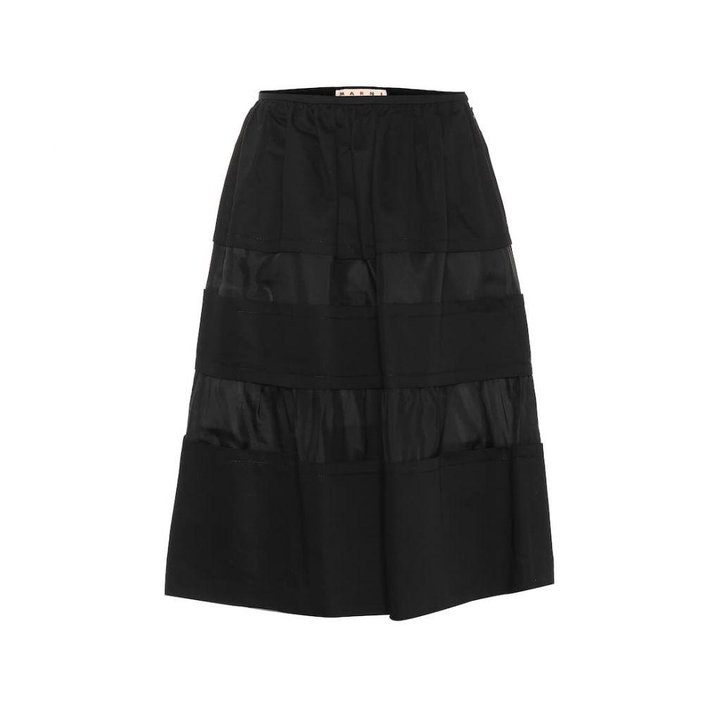 マルニ Marni レディース ひざ丈スカート スカート【Cotton and linen A-line skirt】