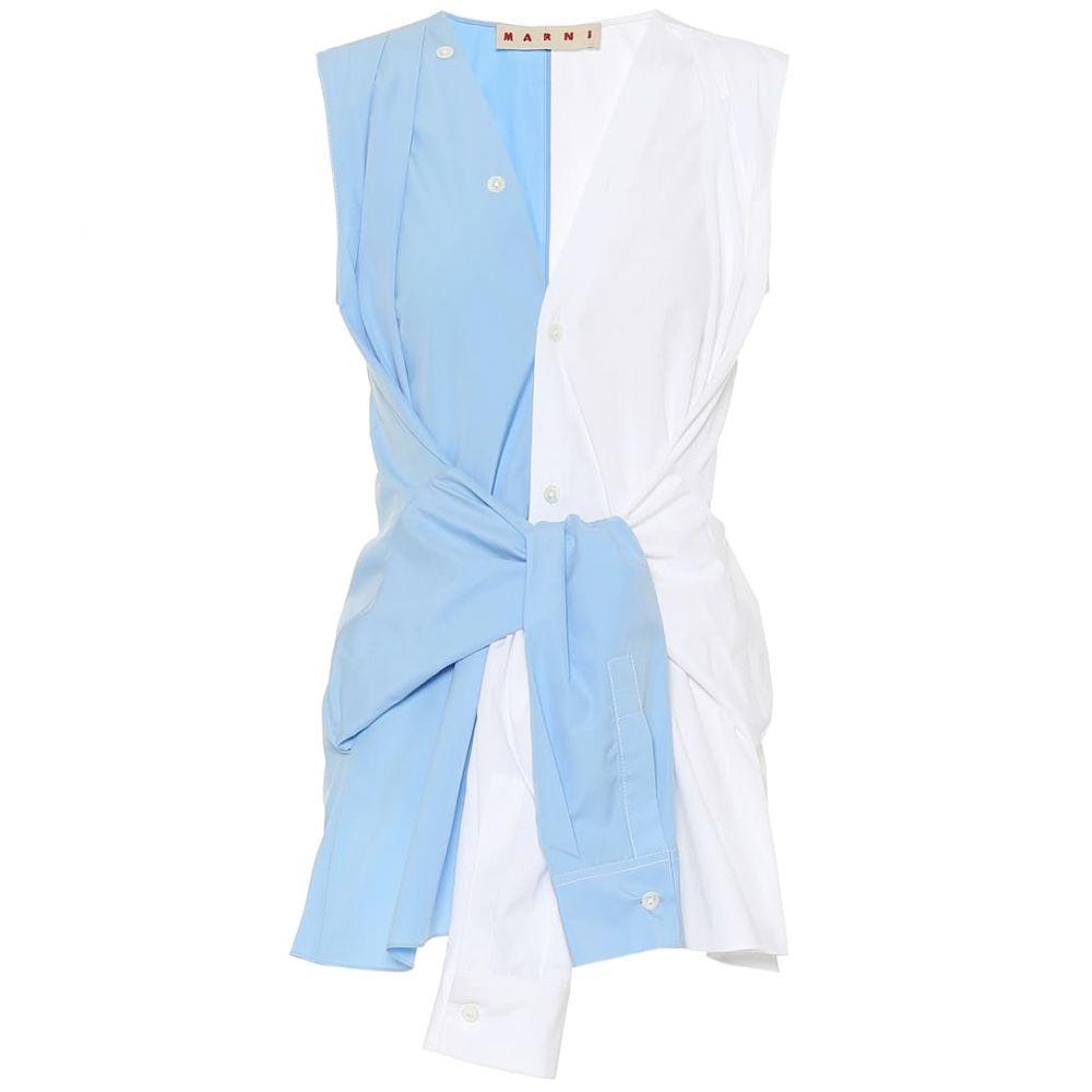マルニ Marni レディース ノースリーブ トップス【Sleeveless cotton shirt】Sapphire/Lily White