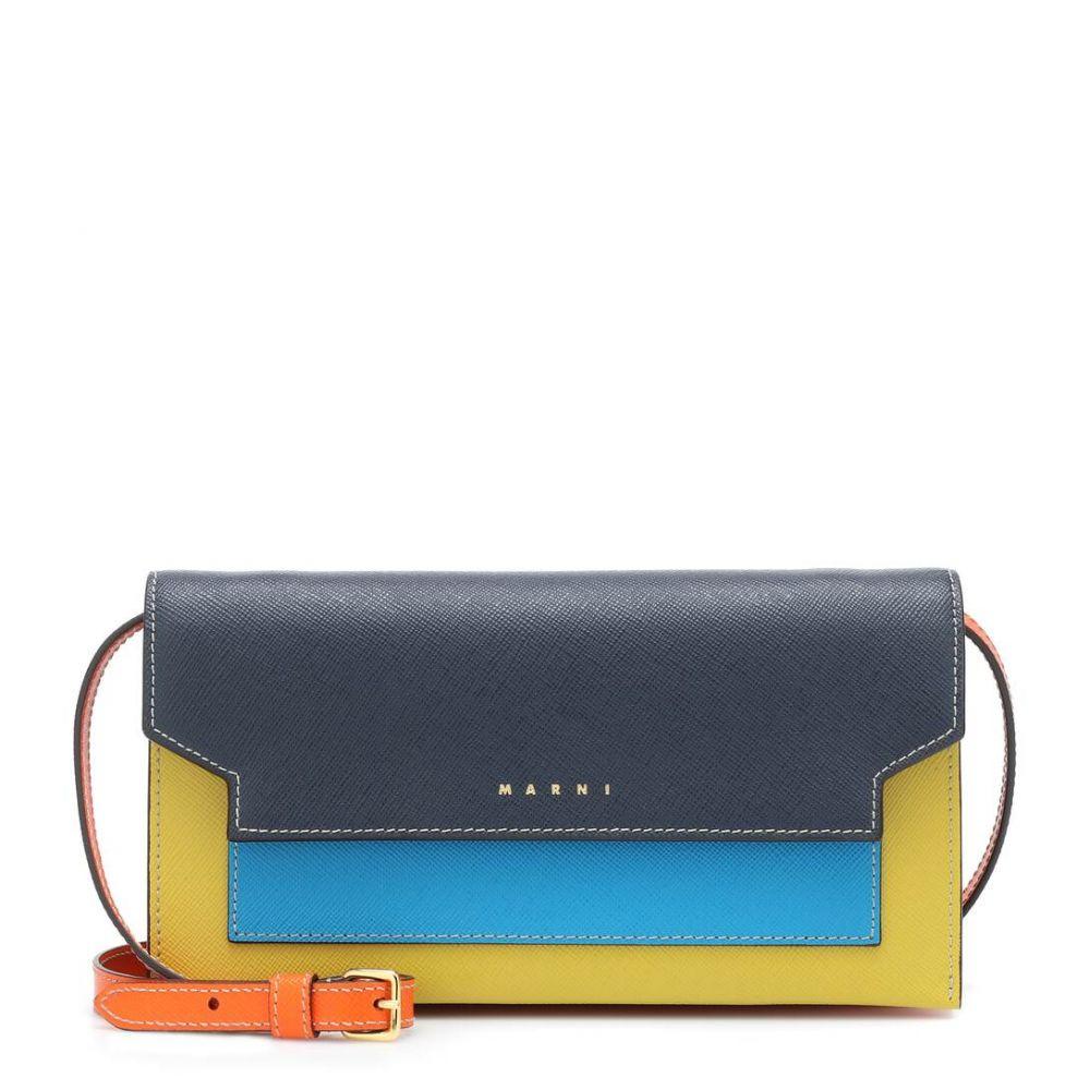 マルニ Marni レディース ショルダーバッグ バッグ【Trunk Small leather shoulder bag】Night Blue/Cobalt/Citron