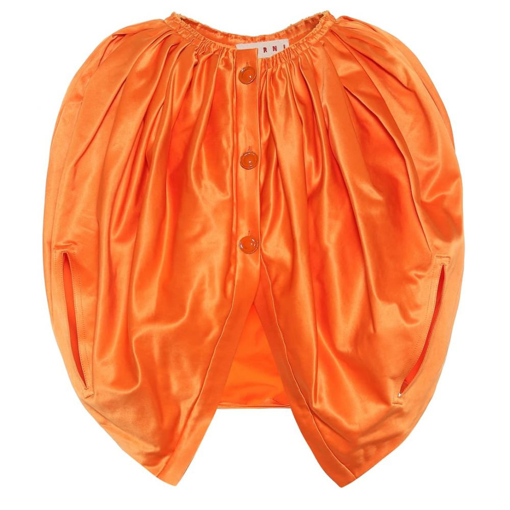 マルニ Marni レディース ベアトップ・チューブトップ・クロップド トップス【Ruched cotton-blend crop top】Carrot