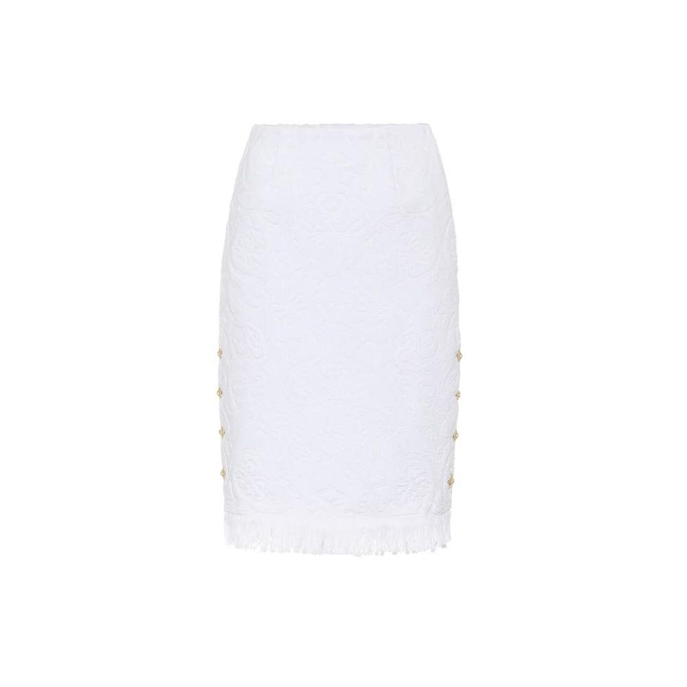 マリーン セル Marine Serre レディース ひざ丈スカート スカート【Floral cotton-toweling jacket】White Jacquard