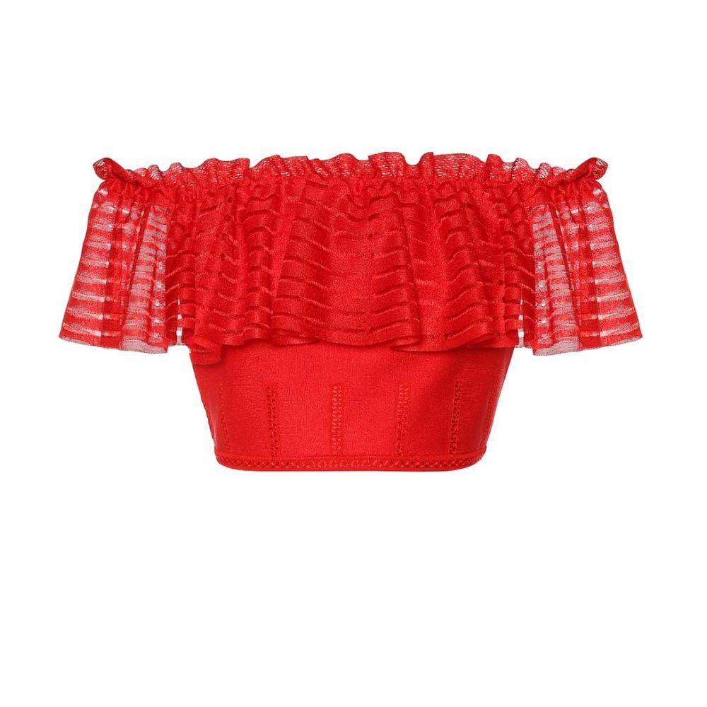 アレキサンダー マックイーン Alexander McQueen レディース オフショルダー トップス【Off-the-shoulder crop top】Lust Red