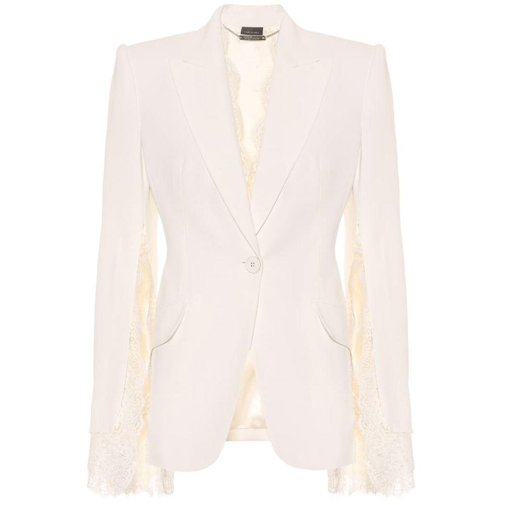 アレキサンダー マックイーン Alexander McQueen レディース ジャケット アウター【Lace-trimmed crepe jacket】Ivory