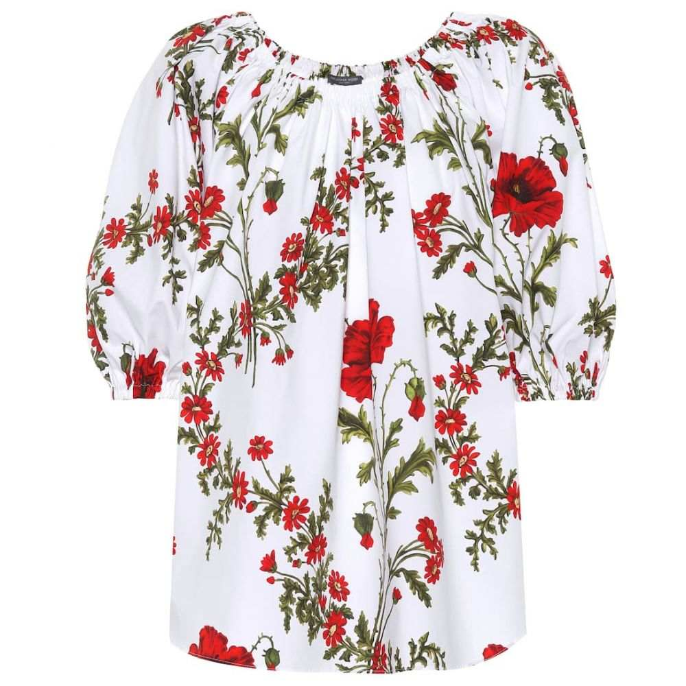 アレキサンダー マックイーン Alexander McQueen レディース トップス 【Floral-printed cotton top】Ivory Mix