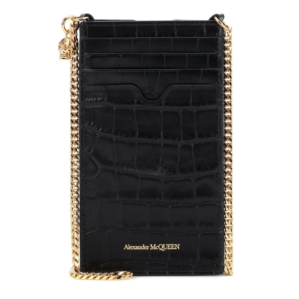アレキサンダー マックイーン Alexander McQueen レディース カードケース・名刺入れ 【Croc-effect leather cardholder】Black