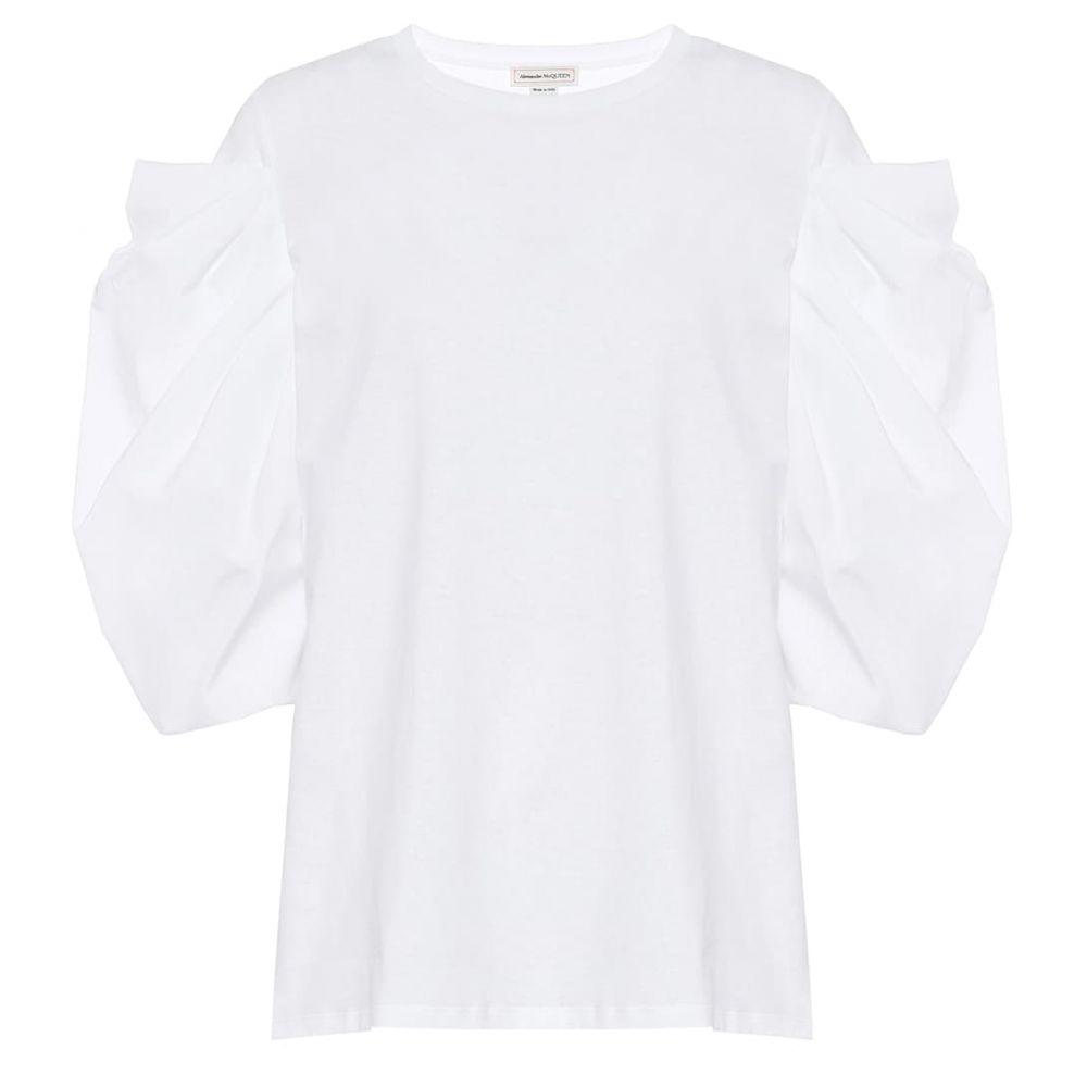 アレキサンダー マックイーン Alexander McQueen レディース Tシャツ トップス【Cotton T-shirt】Opticalwhite