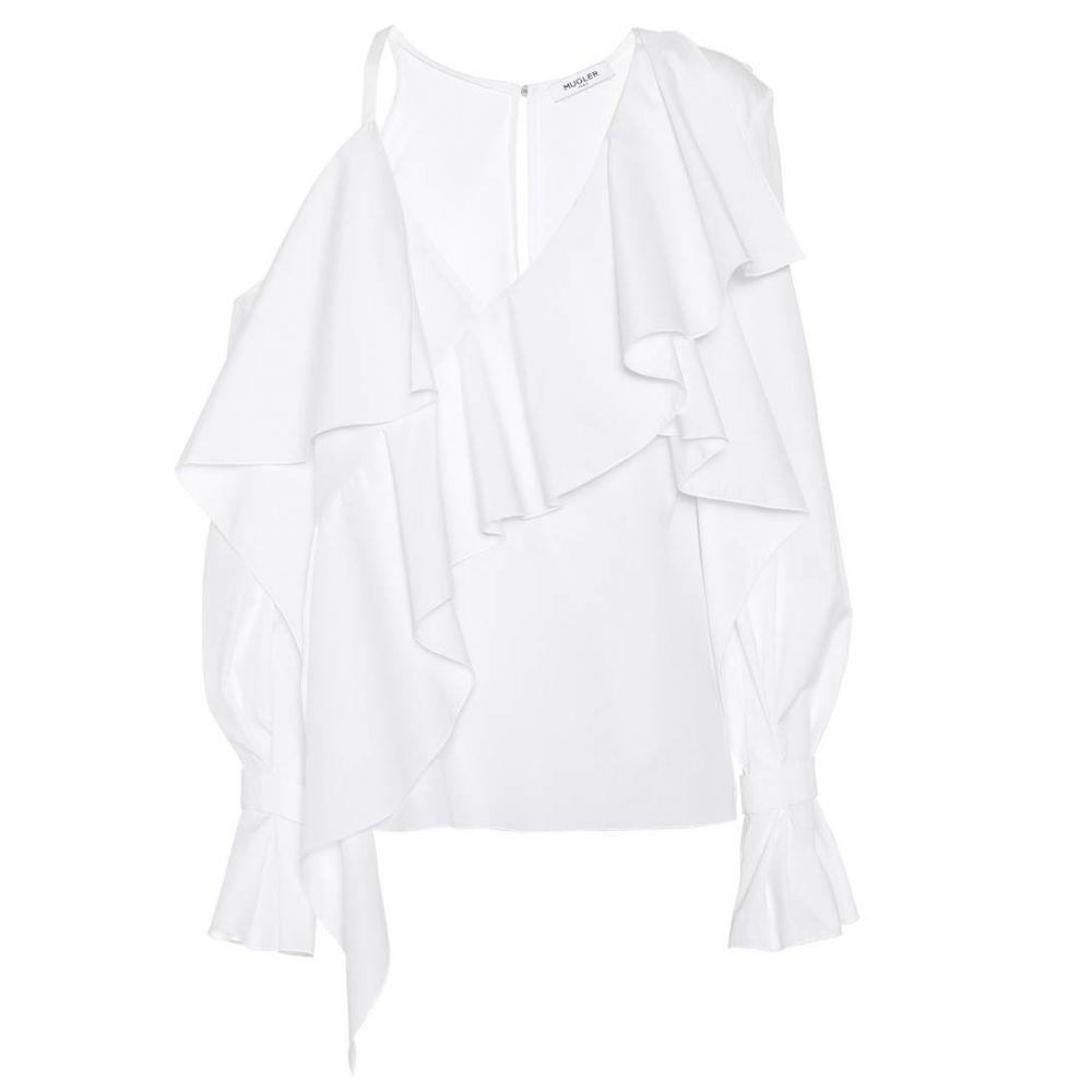 ミュグレー Mugler レディース ブラウス・シャツ トップス【Asymmetric cotton blouse】Blanc Optique