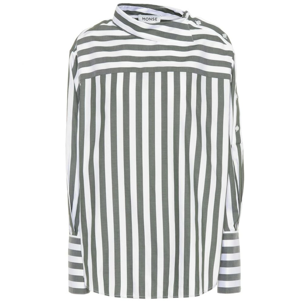 モンス Monse レディース トップス 【Striped cotton top】Olive/White