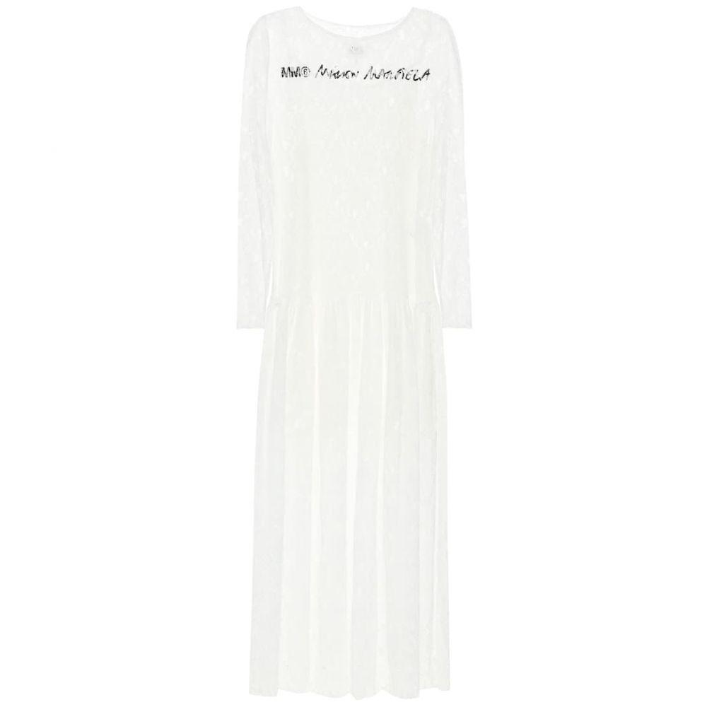 メゾン マルジェラ MM6 Maison Margiela レディース ワンピース ワンピース・ドレス【Logo floral-lace dress】Off White