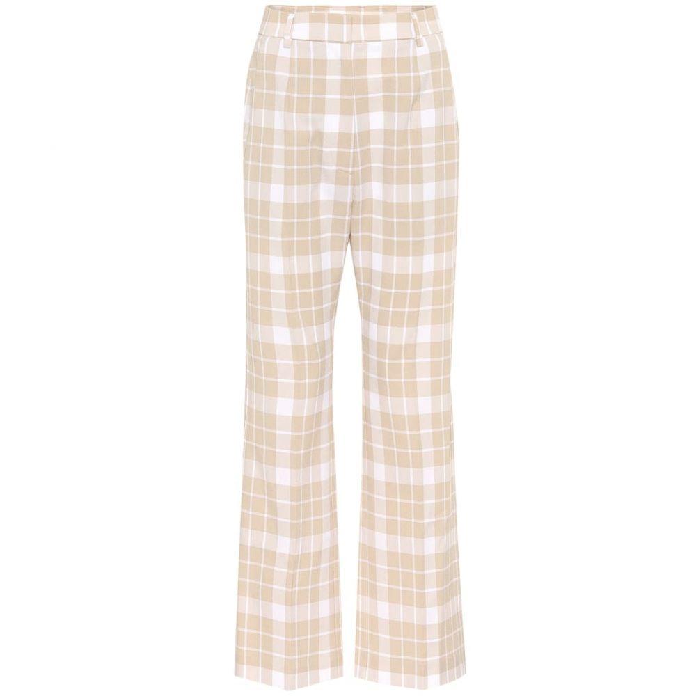 pants】Ecru レディース checked Maison ボトムス・パンツ Check Margiela メゾン 【High-rise MM6 マルジェラ straight