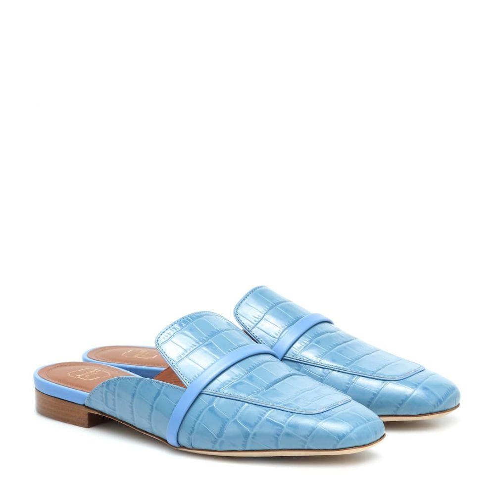 マローンスリアーズ Malone Souliers レディース スリッパ シューズ・靴【Jada croc-effect leather slippers】Baby Blue/Baby Blue