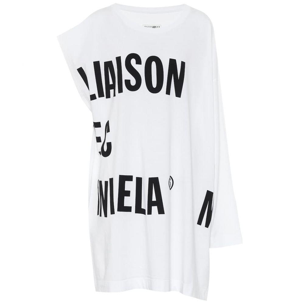 メゾン マルジェラ MM6 Maison Margiela レディース ワンピース ワンピース・ドレス【Logo cotton-jersey dress】White