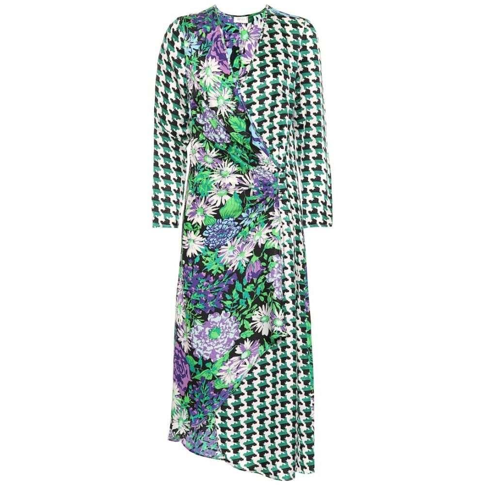 リキソ Rixo レディース ワンピース ラップドレス ワンピース・ドレス【Betty satin wrap dress】Retro Floral Houndstooth