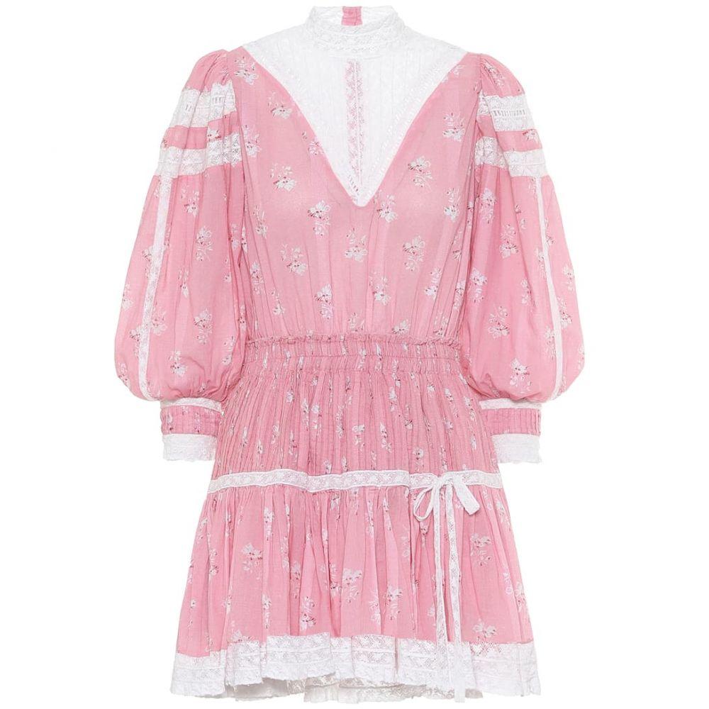 ラブシャックファンシー LoveShackFancy レディース ワンピース ワンピース・ドレス【Viola floral cotton minidress】Pink Jam