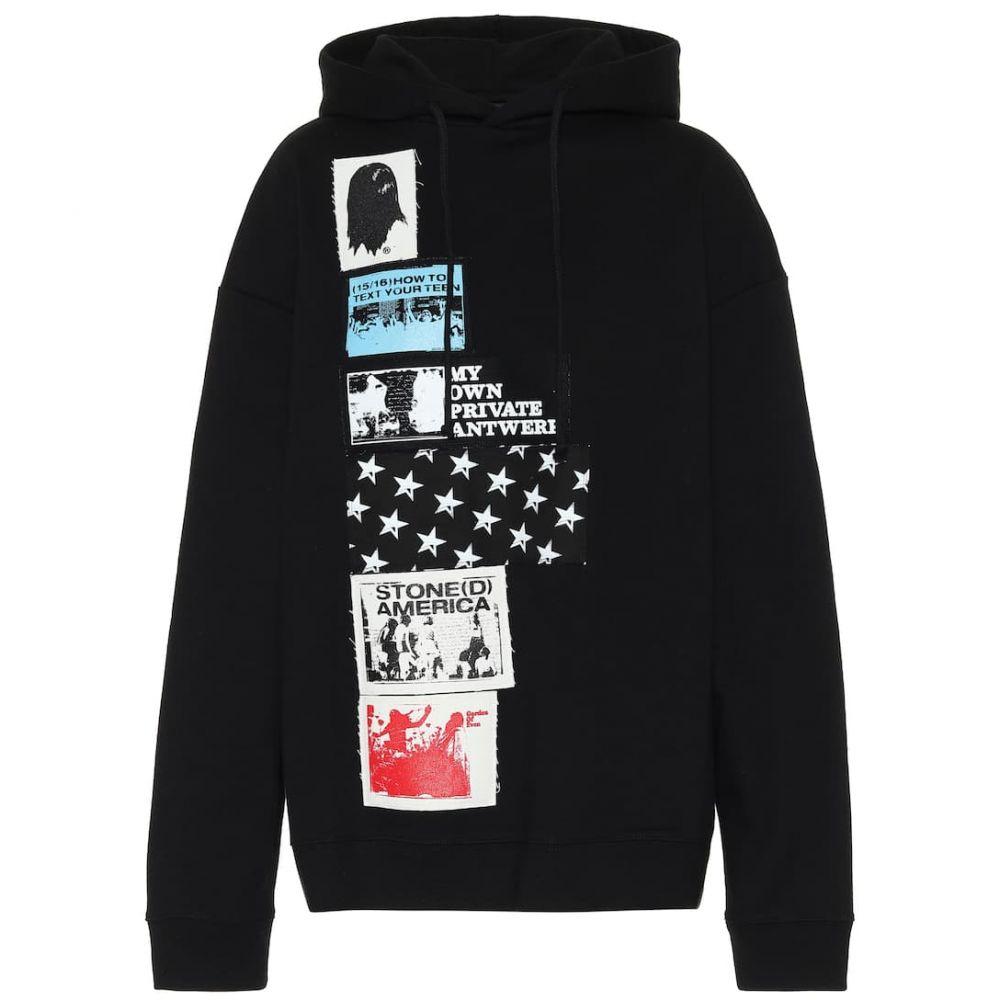 ラフ シモンズ Raf Simons レディース パーカー トップス【Appliqued cotton hoodie】Black