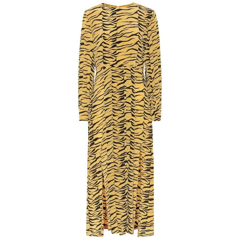 リキソ Rixo レディース ワンピース ミドル丈 ワンピース・ドレス【Emma tiger-print silk midi dress】Abstract S Floral Swirl
