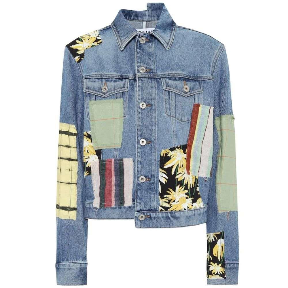 ロエベ Loewe レディース ジャケット Gジャン アウター【Patchwork denim jacket】Blue/Multicolor