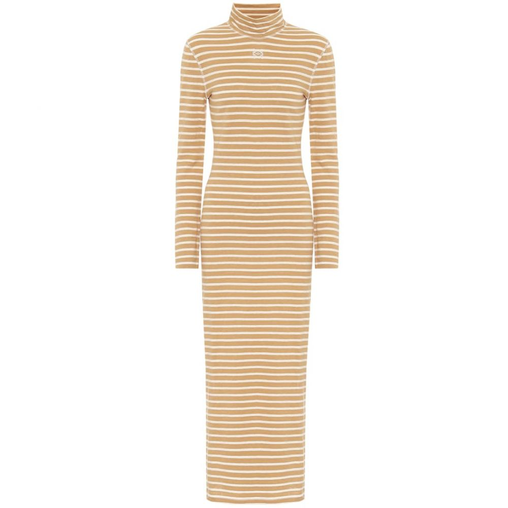 ロエベ Loewe レディース ワンピース ミドル丈 ワンピース・ドレス【Striped cotton-jersey midi dress】Beige