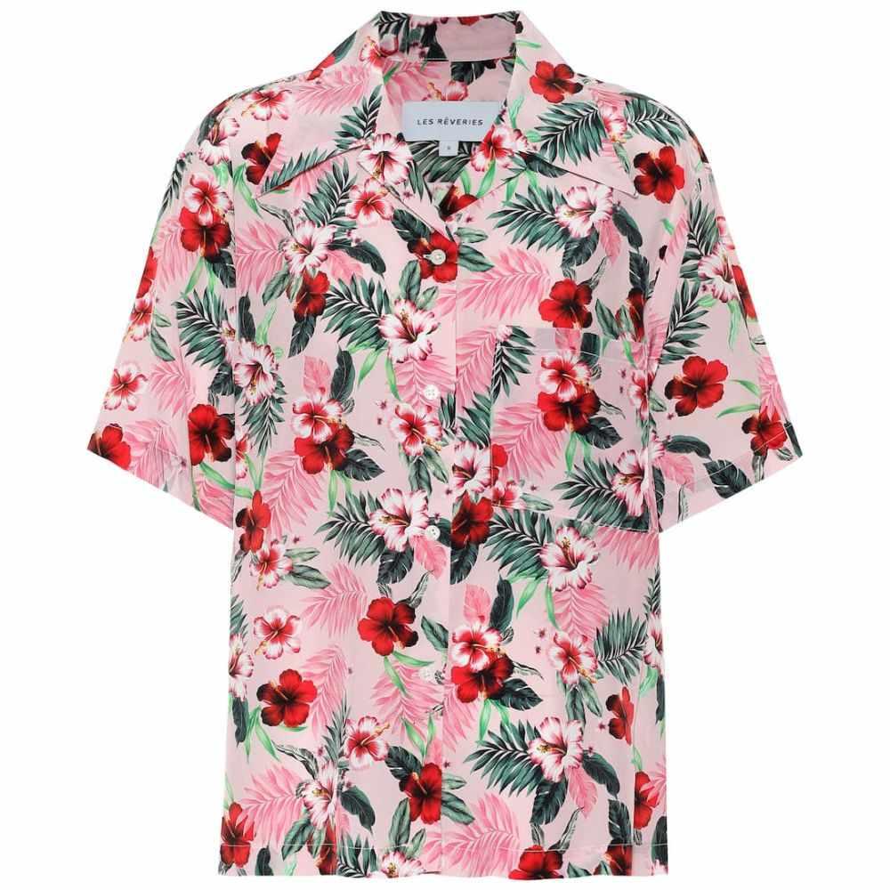 レ レヴェリズ Les Reveries レディース ブラウス・シャツ トップス【Floral silk shirt】Hibiscus Pink