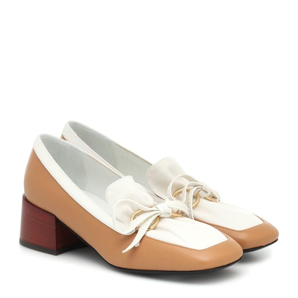 ロエベ Loewe レディース ローファー・オックスフォード シューズ・靴【Leather loafers】Tan/White