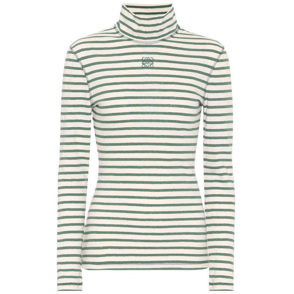 ロエベ Loewe レディース トップス 【Striped cotton-jersey top】Green