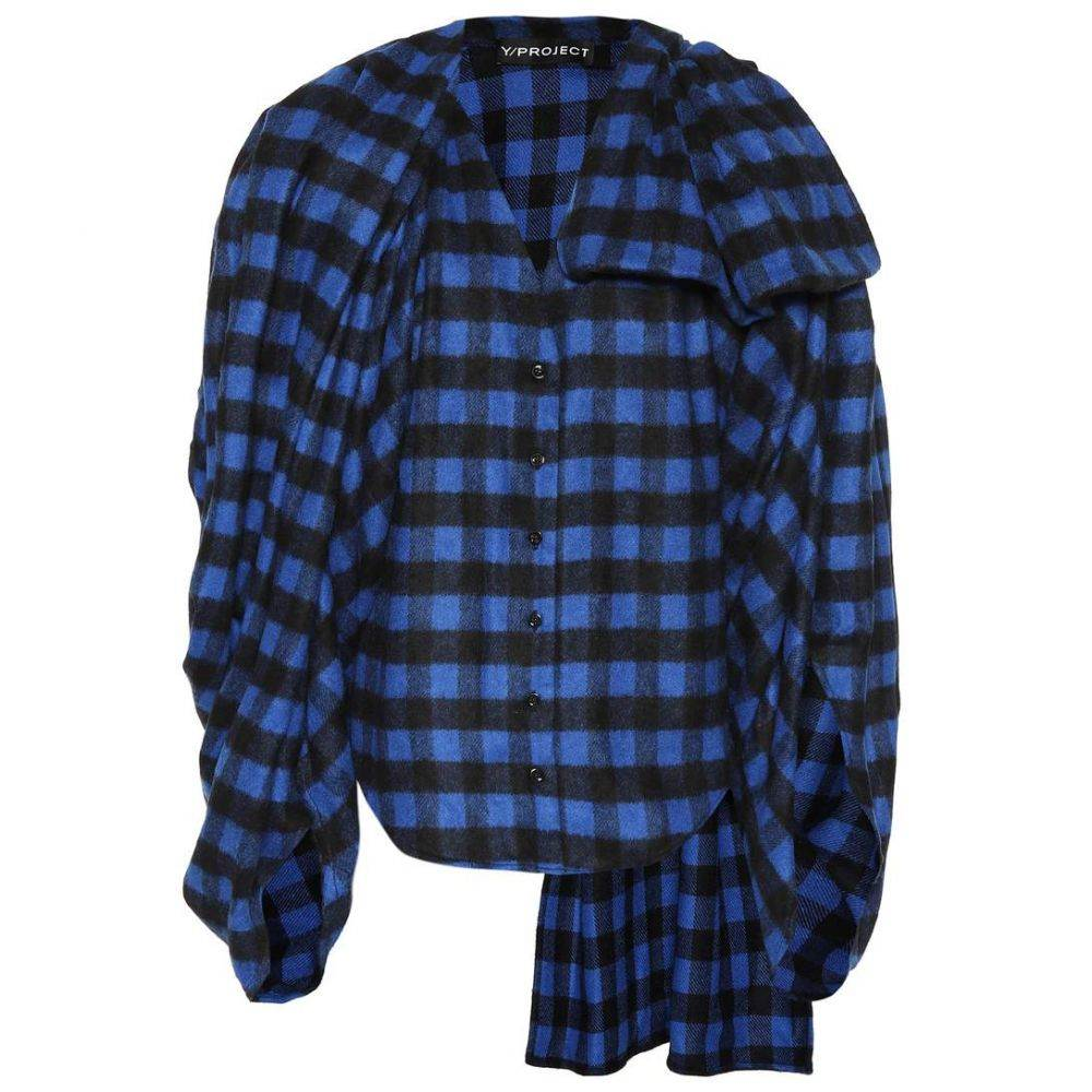 ワイプロジェクト Y/PROJECT レディース トップス 【Wool-blend checked flannel top】blue/black