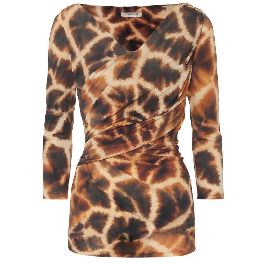 ロベルト カヴァリ Roberto Cavalli レディース トップス 【Animal-print stretch-jersey top】Bronze