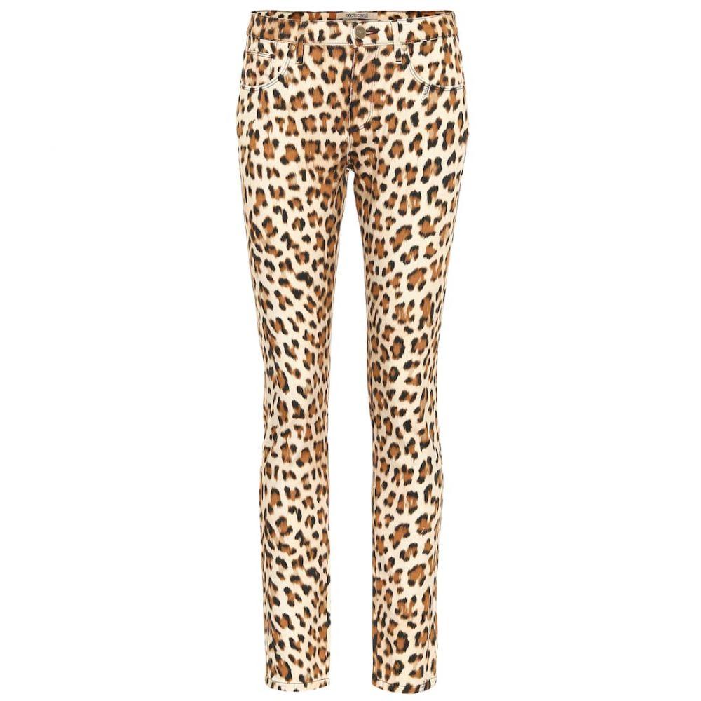 ロベルト カヴァリ Roberto Cavalli レディース ジーンズ・デニム ボトムス・パンツ【Leopard-print high-rise skinny jeans】Natural