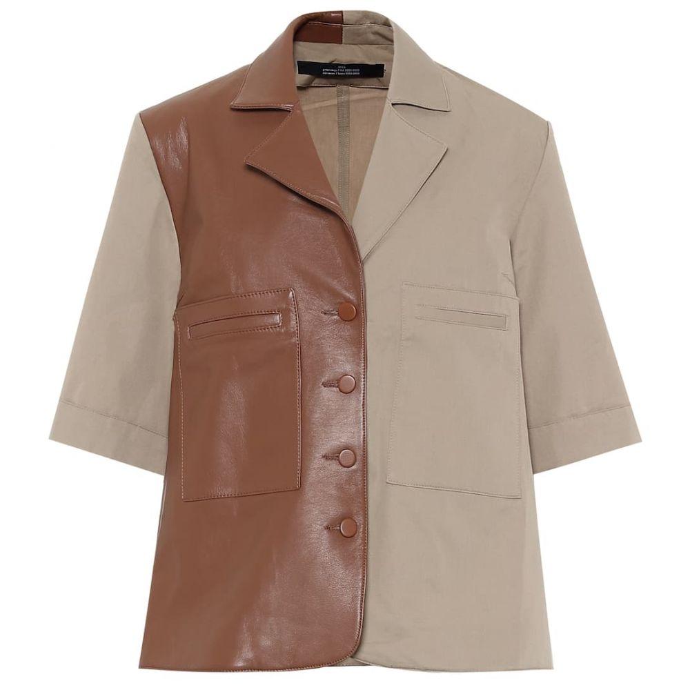 ロック Rokh レディース ブラウス・シャツ トップス【Leather and cotton shirt】Burlywood