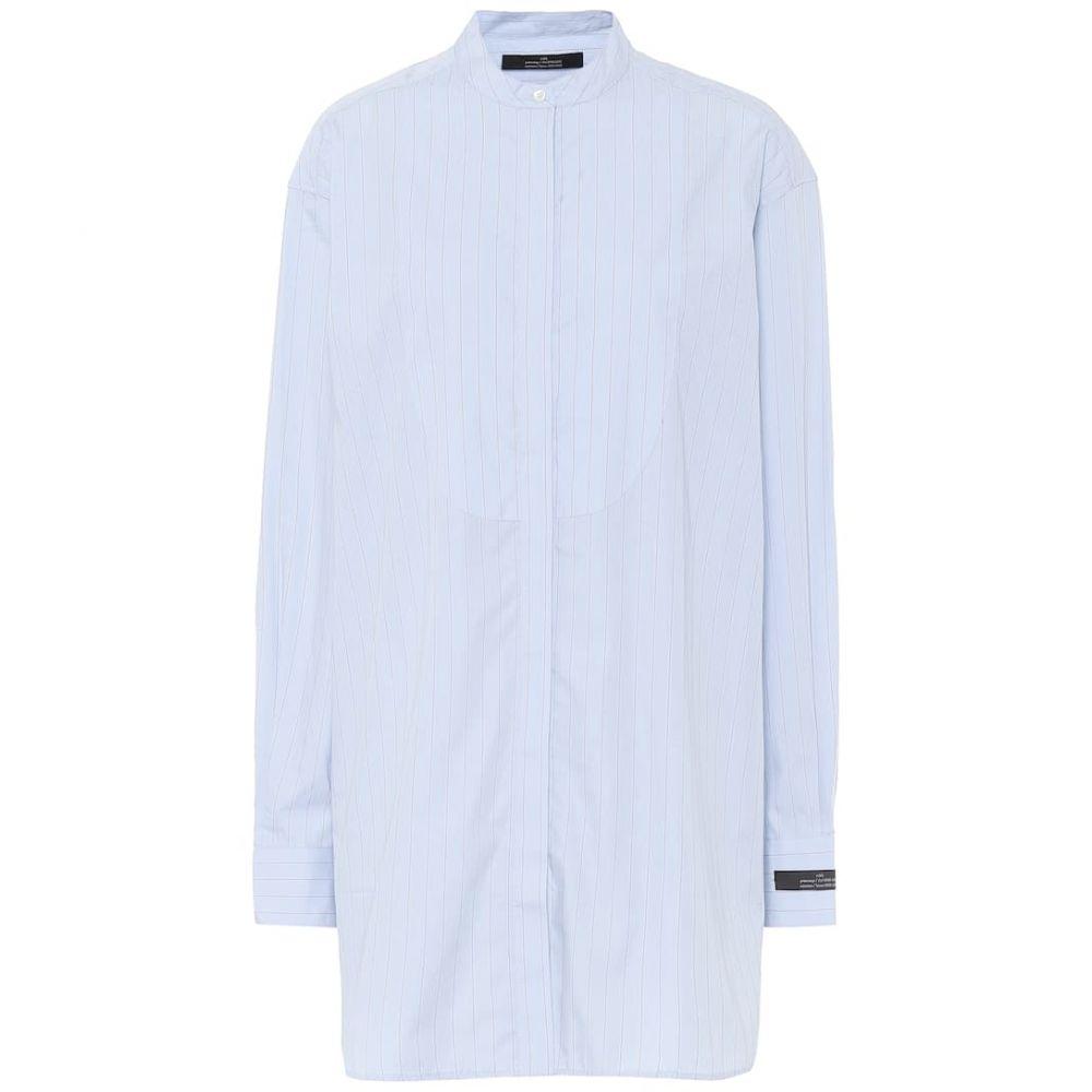 ロック Rokh レディース ブラウス・シャツ トップス【Pinstriped cotton shirt】Paleblue with Redstripe